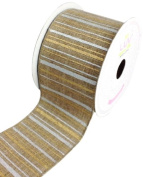 LUV RIBBONS Fabric Ribbon by Creative Ideas, 6.4cm , Canvas Metallic Stripes, Toffee