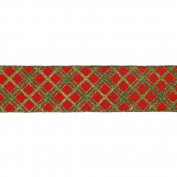 Red and Green Diamond Chequered Wired Christmas Craft Ribbon 6.4cm x 10 Yards