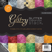 DCWV The Glitzy Glitter Cardstock Stack 12 in x 12 in 24 sheets total 6 solid colours of premium glitzy craft paper