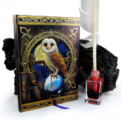 Artwork by Lisa Parker Spell Keeper Owl with Pentagram Pagen Embossed Journal By Lisa Parker