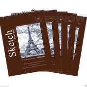 "Wennow ""9"""" × 12"""" (22.8cm × 30.4 cm) 30 Sheets Top Quality Sketch Book Paper Pad Set of 5 """