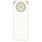 Grasslands Road Cucina Monogram Metallic Gold Letter Initial H Magnetic Memo Pad