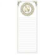 Grasslands Road Cucina Monogram Metallic Gold Letter Initial N Magnetic Memo Pad