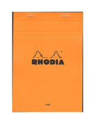 Rhodia Classic French Paper Pads ruled with margin 15cm . x 21cm . orange [PACK OF 4 ]