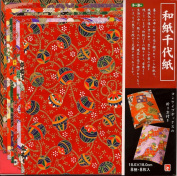 Red Washi Prints - 7 in (18 cm) 8 sheets