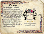 Davoren Coat of Arms/ Family Crest on Fine Paper and Family History.