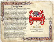 Dodgshun Coat of Arms/ Family Crest on Fine Paper and Family History.