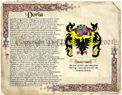 Doria Coat of Arms/ Family Crest on Fine Paper and Family History.
