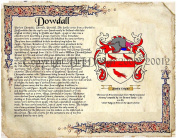 Dowdall Coat of Arms/ Family Crest on Fine Paper and Family History.