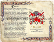 Dreux Coat of Arms/ Family Crest on Fine Paper and Family History.
