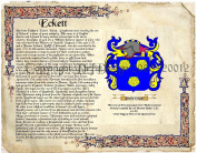 Eckett Coat of Arms/ Family Crest on Fine Paper and Family History.