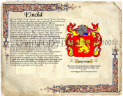 Einold Coat of Arms/ Family Crest on Fine Paper and Family History.