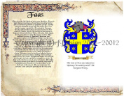 Faas Coat of Arms/ Family Crest on Fine Paper and Family History.