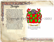 Faigin Coat of Arms/ Family Crest on Fine Paper and Family History.