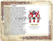 Godfree Coat of Arms/ Family Crest on Fine Paper and Family History.