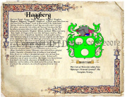 Haggberg Coat of Arms/ Family Crest on Fine Paper and Family History.