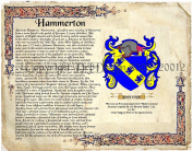 Hammerton Coat of Arms/ Family Crest on Fine Paper and Family History.