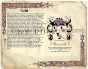 Iain Coat of Arms/ Family Crest on Fine Paper and Family History.