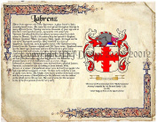 Labrenz Coat of Arms/ Family Crest on Fine Paper and Family History.