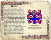 Larkins Coat of Arms/ Family Crest on Fine Paper and Family History.
