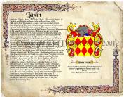 Lavin Coat of Arms/ Family Crest on Fine Paper and Family History.