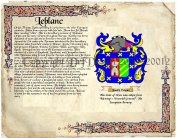 Leblanc Coat of Arms/ Family Crest on Fine Paper and Family History.