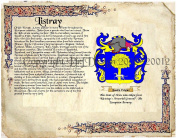 Listray Coat of Arms/ Family Crest on Fine Paper and Family History.