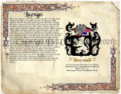 Luengo Coat of Arms/ Family Crest on Fine Paper and Family History.