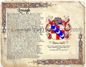 Lynagh Coat of Arms/ Family Crest on Fine Paper and Family History.