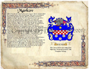 Markov Coat of Arms/ Family Crest on Fine Paper and Family History.