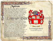 Mattson Coat of Arms/ Family Crest on Fine Paper and Family History.