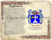 Mcgilmartin Coat of Arms/ Family Crest on Fine Paper and Family History.