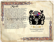 Micoli Coat of Arms/ Family Crest on Fine Paper and Family History.