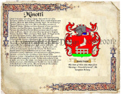 Minotti Coat of Arms/ Family Crest on Fine Paper and Family History.