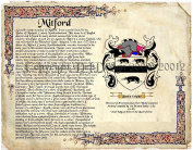 Mitford Coat of Arms/ Family Crest on Fine Paper and Family History.