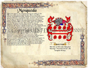 Mosqueda Coat of Arms/ Family Crest on Fine Paper and Family History.