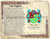Murnaghan Coat of Arms/ Family Crest on Fine Paper and Family History.