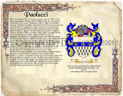 Paolucci Coat of Arms/ Family Crest on Fine Paper and Family History.