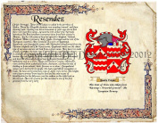 Resendez Coat of Arms/ Family Crest on Fine Paper and Family History.