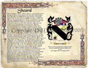 Sheard Coat of Arms/ Family Crest on Fine Paper and Family History.