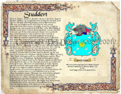 Studdert Coat of Arms/ Family Crest on Fine Paper and Family History.