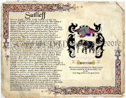 Sutlieff Coat of Arms/ Family Crest on Fine Paper and Family History.