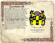 Szymanczyk Coat of Arms/ Family Crest on Fine Paper and Family History.
