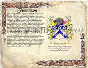 Thomazon Coat of Arms/ Family Crest on Fine Paper and Family History.