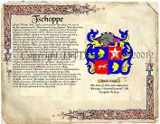 Tschoppe Coat of Arms/ Family Crest on Fine Paper and Family History.