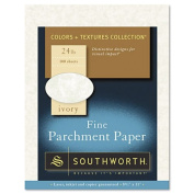 Southworth Products - Southworth - Fine Parchment Paper, 24 lbs., 8-1/2 x 11, Ivory, 100/Pack - Sold As 1 Pack - Adds an old-world elegance to your communications. - Ideal for awards, certificates, invitations and more. - Acid-free for archival quality ..