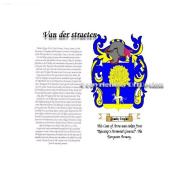 Van der straeten Coat of Arms/ Family Crest on Fine Paper and Family History