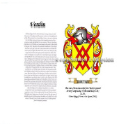 Verdin Coat of Arms/ Family Crest on Fine Paper and Family History