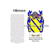 Villavicencio Coat of Arms/ Family Crest on Fine Paper and Family History