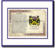 Curry Coat of Arms/ Family History Wood Framed